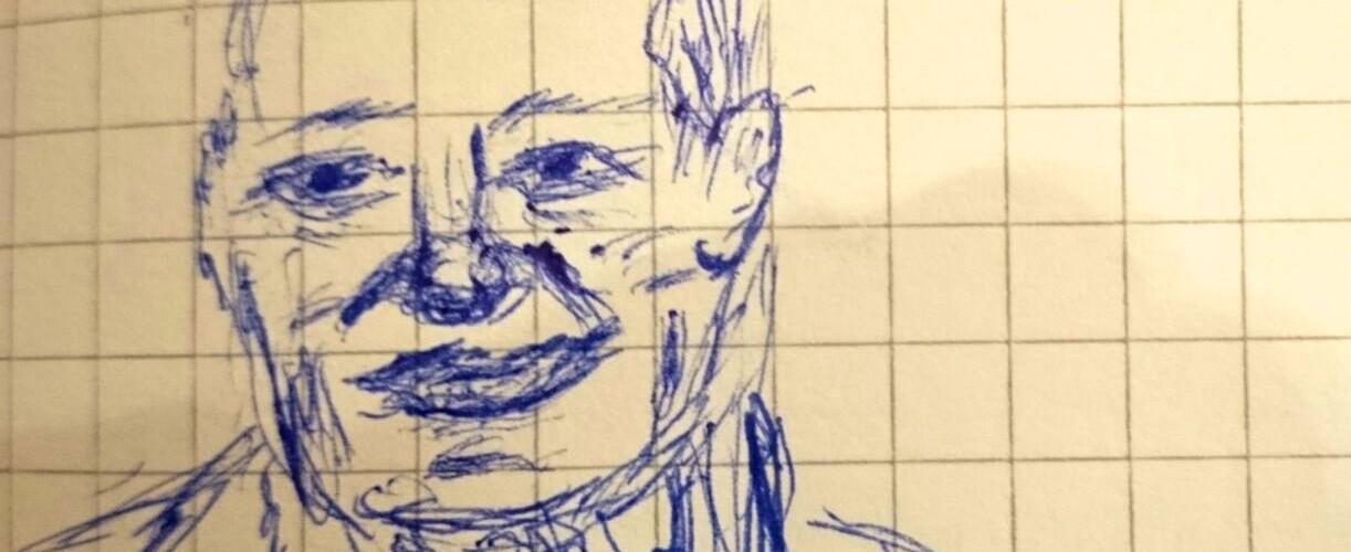 Felix Mitterer, skizziert vom Autor